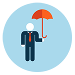 stylized person holding umbrella