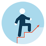 stylized person and arrow going up stairs